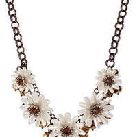 Betsey Johnson Brown Gold-Tone Glass Crystal Beaded Flower Frontal Necklace - Fashion Jewelry - Jewelry & Watches - Macy's
