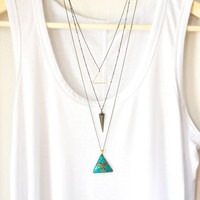 Gold Triangle Pendant, boho necklace, layered necklace, gold necklace