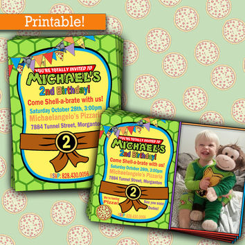 Ninja Turtles Birthday Party | TMNT Birthday Party Invitation, Printable, Picture Invitation