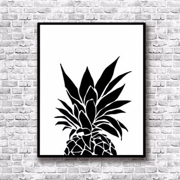 Modern Nordic Black White Minimalist pineapple Quotes Art Print Poster Wall Picture Canvas Painting Living Room Decor