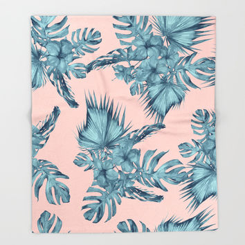 Dreaming of Hawaii Teal Blue on Millennial Pink Throw Blanket by Simple Luxe