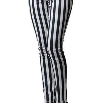 Striped Black and White Skinny Jeans