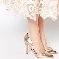 Head Over Heels Callina Rose Gold Point Toe Two Part Heeled Shoes