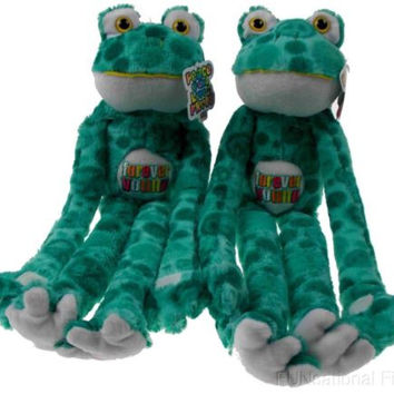 Lot 2 Peace and Love Frogs Forever Young Hanging Soft Plush Embroidered