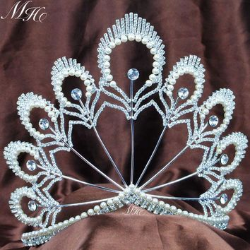 "Incredible Pearl Crystal Tiaras Wedding Bridal Diadem Handmade 5.5"" Large Hair Crowns Pageant Party Prom Headband"