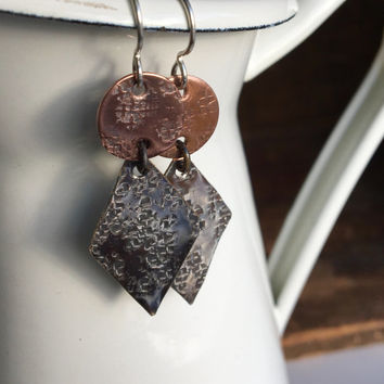 Hammered Earrings, Dangle and Drop Earrings, Textured Earrings, Silver Filled Diamond Shape, Copper Disc, Etsy, Etsy Jewelry