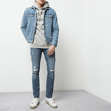 Mid blue wash ripped skinny Sid jeans - skinny jeans - jeans - men