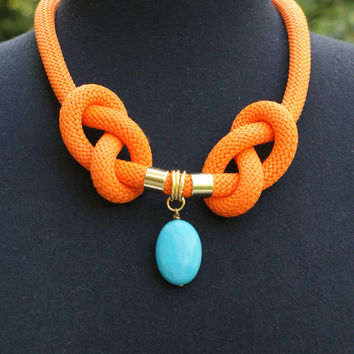 Orange climbing cord design necklace, with turquoise howlite & brass gold color elements, handmade necklace, jewelry
