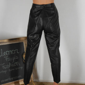 High waisted leather pants, sze 2 / 4, 80's, rocker retro, by Dana Brooke