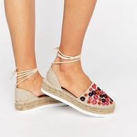 ASOS JAZZY Embroidered Tie Leg Espadrilles at asos.com