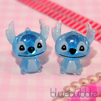 ♥FUNKY BLUE LILO STITCH EARRINGS CUTE CARTOON KITSCH TV ADORABLE MOVIE RETRO EMO