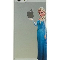 Eating/ Holding Apple logo Transparent Princess Snow White Frozen Elsa Little Mermaid Ariel Holding Logo Clear Transparent Case for Apple iPhone4 4S (Elsa iphone 4/4s)
