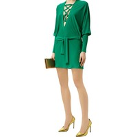Balmain Lace-Up Batwing Sleeve Dress Green|Harrods.com