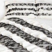 White and Black Ruffles Sham - Set of 2