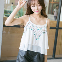 Ethnic Embroidery Spaghetti Strap Double Layer Chiffon Tank Top