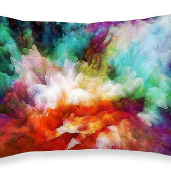 "Custom made decorative rectangular 20""x14""  throw pillow. With a colorfully vivid abstract liquid color explosion print."