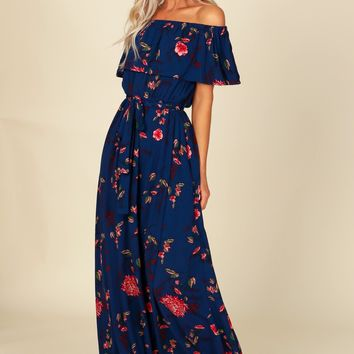 Off The Shoulder Print Maxi Navy