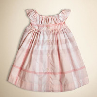 Ruffle Collar Check Cotton Dress