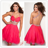 HOT Bead Red Short Organza Party Cocktail Homecoming Sexy Pageant Clubwear Dress