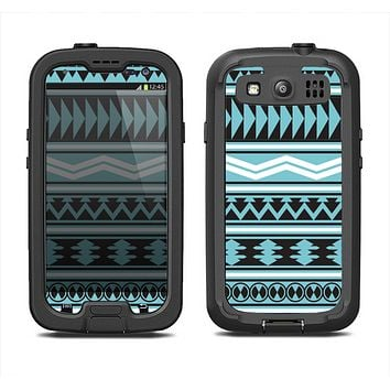 The Vector Blue & Black Aztec Pattern V2 Samsung Galaxy S4 LifeProof Fre Case Skin Set