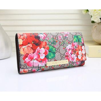Perfect Gucci Women Leather Flower Print Purse Wallet