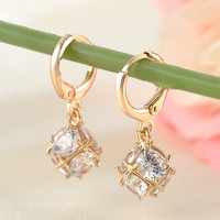 Gold-Plated Cubic Zirconia Dangle Earrings