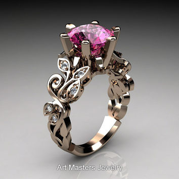 Nature Inspired 14K Rose Gold 3.0 Ct Pink Sapphire Diamond Leaf and Vine Crown Solitaire Ring RD101-14KRGDPS