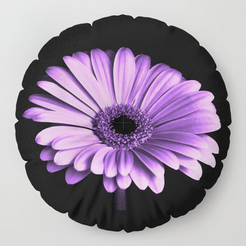 Purple Chrysanthemum Floor Pillow by inspiredimages