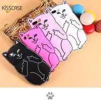 KISSCASE 3D Pocket Cat Silicone Case For iPhone 8 7 6 6s Plus Cute Cartoon Ripndip Phone Cover For iPhone 8 7 6 6s 5 SE Shells