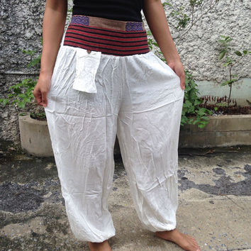 Trousers Yoga Genie Harem Pants Ethnic Tribal Hippie Baggy Boho Hobo Fashion Style Chic Clothing Gypsy Cloth For Exercise Beach Plain White