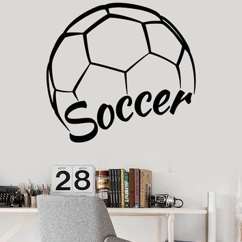 Vinyl Wall Decal Soccer Player Ball Sport Logo Word Stickers (2279ig)