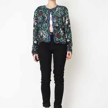 Vintage Sequin Beaded Jacket Floral Sequined Jacket Made in India Silk Sequin Jacket Cropped Colorful Sequin Trophy Glam Sequin Cardigan (L)