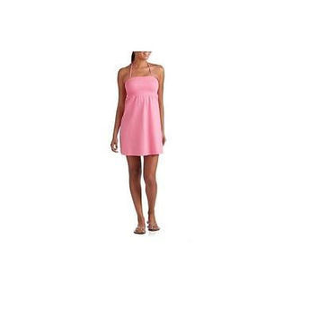 Juniors Smocked Gauze Halter Dress, Pink Sizzle, Small No Boundaries