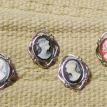 Small Cameo Earrings, Post Earrings, Steampunk Jewelry, Silver Setting, Victorian Era, Vintage Costume Jewelry