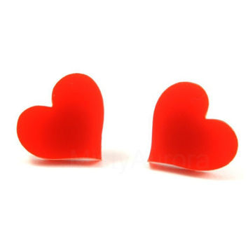 Heart Stud Earrings - Red Heart Earring Posts - Heart Jewelry - Red Jewelry