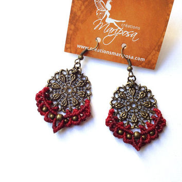 Hippie-chic red Mandala handwoven earrings pendants boho bohemian macrame gypsy woodland