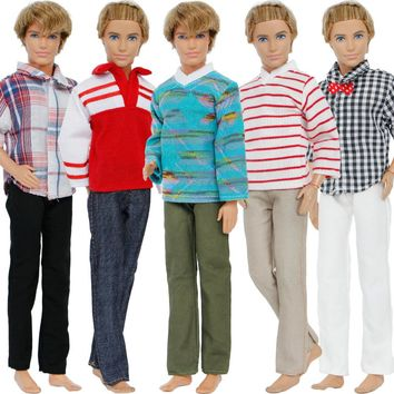 5 Set/Lot Fashion Prince Outfits Mixed Style Plaid Stripe Shirt Trousers Clothes For Barbie Friend Ken Doll Accessories Gift Toy