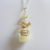 Glow in the Dark Lumos Bottle Pendant Necklace -  Miniature Food jewelry