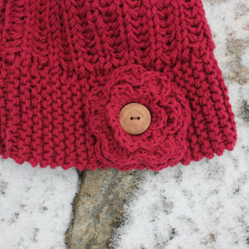Slouchy Beanie - Burgundy - Dusty Rose - Cotton beanie hat - Soft Warm 100% Cotton Hand Knitted Dusty Rose Beret Hat and very soft