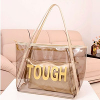 Womens Sweet Jelly Clear transparent Handbag Tote Shoulder Bags