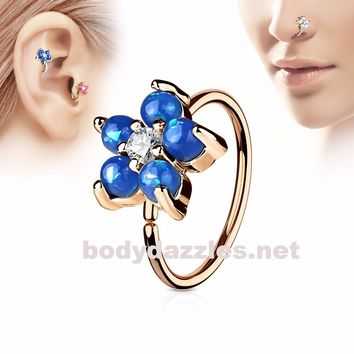 Golden Blue Opal Glitter Set Flower Petals CZ Center 316L Surgical Steel Hoop Ring for Nose Ear Cartilage Daith Rook
