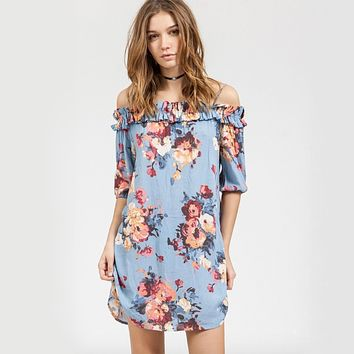 blu pepper - floral spring dress - blue multi