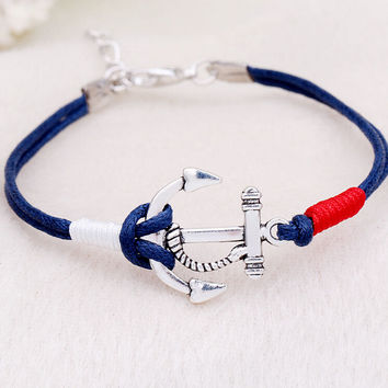 Women Men Multilayer Leather Handmade Cuff Wristband Anchor Bracelet Bangle Jewelry +Gift Box