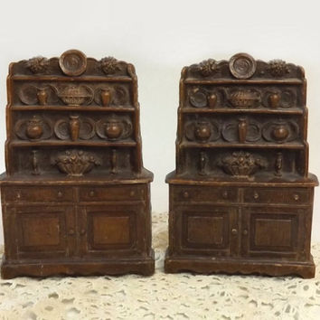 Vintage Syroco Wood Hutch Bookends, China Cabinet Book Ends, Cottage Chic Display, Rustic Farmhouse Decor