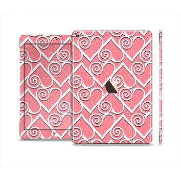 The Pink and White Swirly Heart Design Skin Set for the Apple iPad Air 2