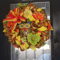 Deluxe Deco Mes Spring/Summer Wreath- Front Door Wreath- Owl Decoration- Ready to Ship