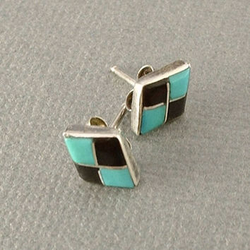 Vintage Native American STERLING Turquoise STUD Earrings ZUNI Earring Studs Black Jet Inlay Mosaic Checkered Diamond Shape c.1970's