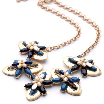 Vintage-Inspired Faux Stone Necklace Fashion Women Adjustable Clasp Pendants Jewelry