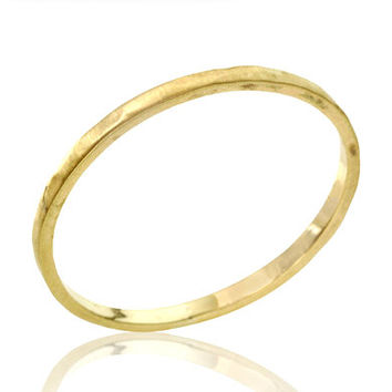 14k Gold Perfect Classic Hammered Thin Wedding Band by netawolpe