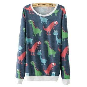 Dinosaurs Printed Sweatshirt For Women - All Over Print
